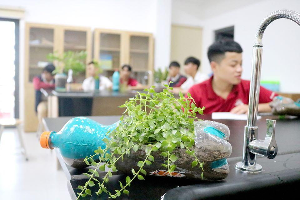 105809942 1035637166893404 1518250439805172075 o iSer Quảng Trị thực hành trồng cây với chậu tái chế trong giờ Sinh học