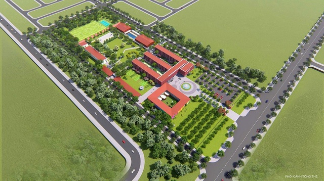 Mô hình trường iSchool Quảng Trị với hệ thống 500 cây xanh và thảm cỏ được phủ kín